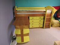 Verona Maximus Mid Sleeper with chest of drawers, desk and book shelf (+ mattress)