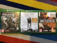 3 Xbox one games, Gears of war 4, Star Wars battlefront, Battlefield hardline