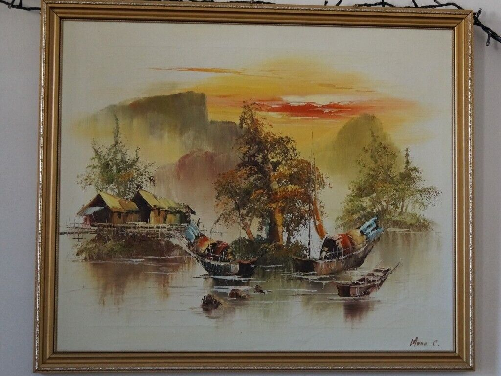 de313ee45 Pair of framed original 1970's oil paintings of Chinese junks | in ...