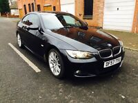 2008 57 BMW 335D M SPORT COUPE AUTO BLACK SAPPHIRE RED LEATHERS HPI CLEAR
