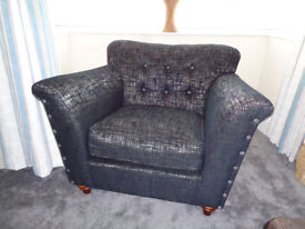 ARMCHAIR FROM SOFOLOGY, CHARCOAL & SILVER, DEEP BUTTONED BACK. NEW