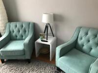 2 x deep buttoned mint green chairs in perfect condition