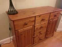 Beautiful Solid Wood Side Board. Antique pine in colour