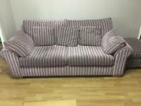 Next Purple Striped 3 Seater Sofa
