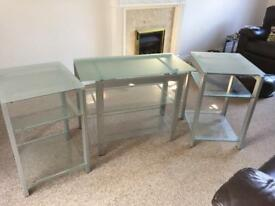 Set of glass tables