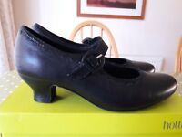 HOTTER Bridgette Ladies Black Leather Mary Jane 1920's Style Shoes Size UK 7.5 STANDARD Fitting BNIB