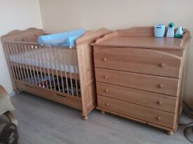 Solid Pine Cot Bed Convertable into junior bed and matching Chests of Drawers