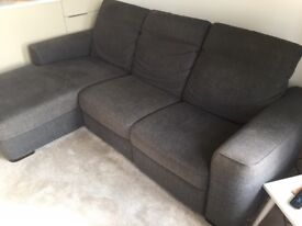 Natuzzi Left Hand Corner Sofa with Chaise - Grey Fabric - Excellent Condition (As New)