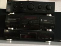 JVC music system, amplifier, double cassette, CD player and speakers