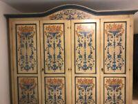 Rustic painted wooden wardrobe