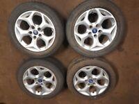 "Set of Genuine Ford Alloy Wheels & Good Tyres 16"" Focus, Mondeo C Max etc"