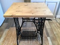 Vintage/Original Cast Iron Singer Table Base With Solid Pine Top