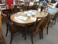 Dark Wood G-Plan Like Dining Table and 6 Brown Fabric Chairs