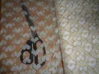 """White with Gold Lurex Hearts Net Mesh Wedding Fabric 60"""" wide"""