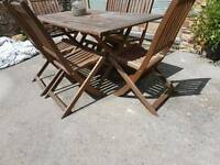 Hardwood table and chairs set
