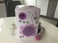Girls Goodmans karaoke machine with microphone and disc
