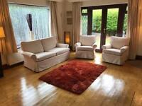 White Fabric 2 Seater Sofa + 2 Armchairs Removable Washable Covers Delivery Possible