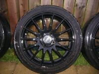 "Fox 16"" black alloy wheels and tyres"