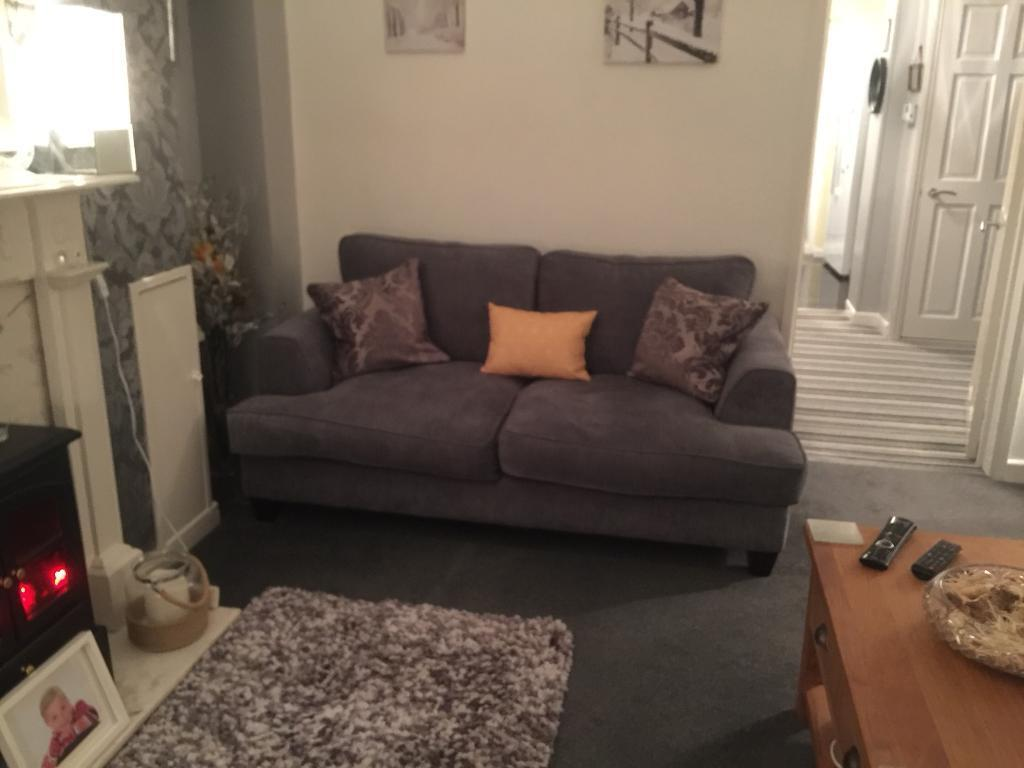 Grey chenille sofa 1 year old