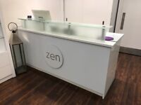 Large Reception desk, modern, white high gloss