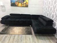 Brand New! Black velvet L-shape sofa Opened but never used