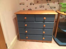 Boys high sleeper matching chest of drawers