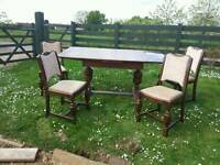 Antique Jacobean style Oak refectory table and chairs