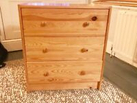 Excellent condition, as new, 3 drawered chest/storage. Newly varnished.