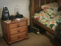Solid pine tall chest of drawers and 2 x matching bedside tables