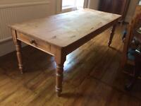 SOLD. Pine farmhouse style dining room table 7ft
