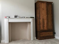 Stylish Vintage Style Solid Wood Wardrobe With Hanging Rail & 1 x Deep Pullout Drawer Good Condition