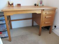 Large Wooden Desk with 2 Drawers and One Pull Out Tray-draw