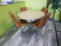 Retro Circular Dining Table & 4 Chairs For Reupholstery - Can Deliver For £19