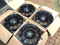 "4 x NEW 19"" BLACK BMW SPIDER SPYDER STAGGERED ALLOY WHEELS 5x120 8.5J 9.5J BMW 5 SERIES E60"