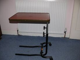 Over chair or bed height adjustable table