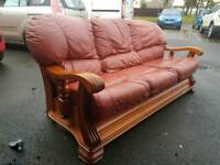 Free Leather wooden sofa