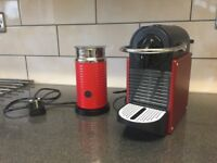 NESPRESSO by MAGIMIX pixie coffee machine and aeroccino in red