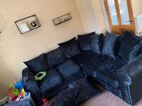 Black crushed velvet corner sofa