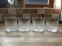 SET OF 4 EDINBURGH CRYSTAL WHISKY GLASSES GLENEAGLES PATTERN MADE IN SCOTLAND IN EXCELLENT CONDITION