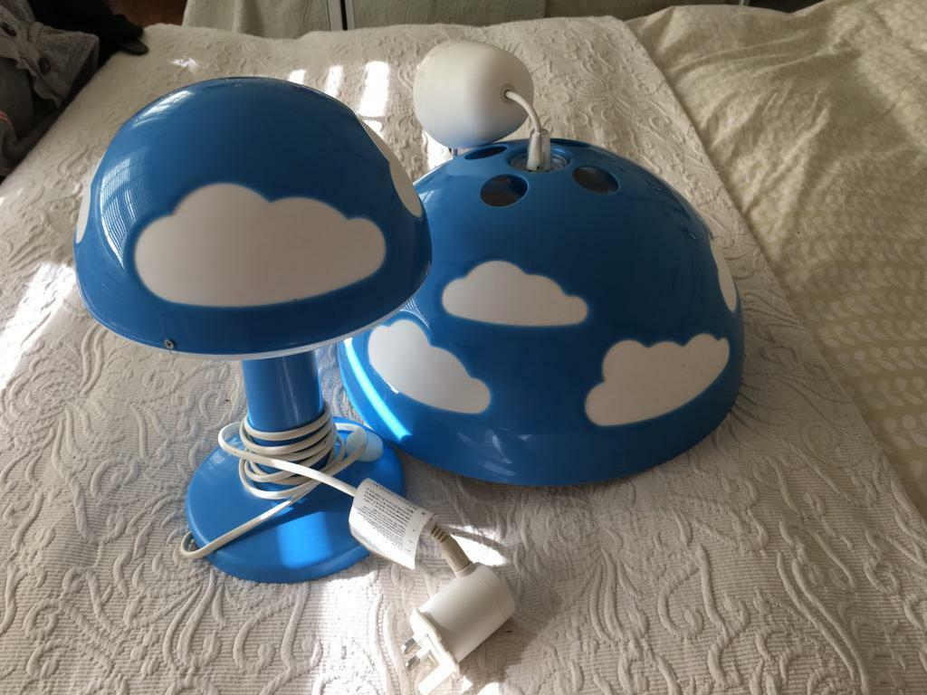Ikea ceiling and table lamp in blue cloud design