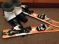 Size 10 boots and small skis