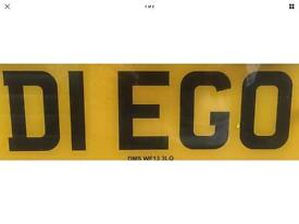 """""""DIEGO"""" Private Cherished Number Licence Personal Registration Plate"""