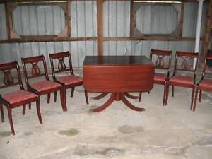 Duncan Phyfe 1932 Leaf Table 6 Chairs