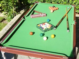 Snooker / Pool Table and Dartboard in Wall Cabinet