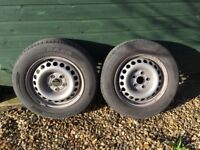 2 steel wheels and tyres for VW T5
