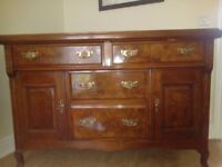 Beautiful antique rosewood and oak sideboard with brass fittings.