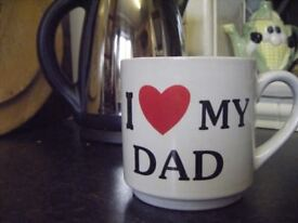 Stoneware Pint mugs, 'I love my Dad'. Ideal gift for the Old Boy