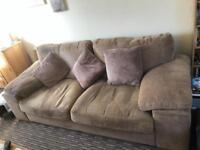 Brown/ beige sofa three seater and a single seater