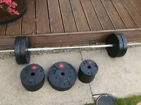 Maximuscle Barbell with 47.5kg plates & York Dumbbells with 17kg plates