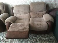 2 x 2 Seater Sofa with 2 Recliner Actions